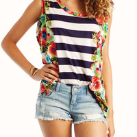 striped-floral-top NAVYCORAL PINKBLUE
