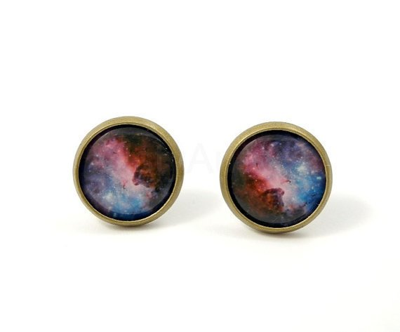 Galaxy Earrings - Space Jewelry - Stars Earrings -  Blue Purple Pink - Free Worldwide Shipping