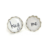 Hug Me Earrings  - Black White Posts - Bronze Earrings - Romantic Jewelry - Free Shipping Etsy