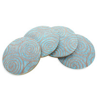 "Sky blue drink coasters set, Japanese style ""Sakura Fujiyama""- Set of 4"