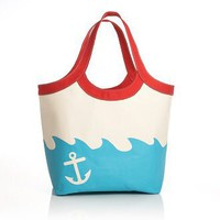 Sailboat and Anchor Turquoise Canvas Summer Tote (13x7x14.25), Barnes & Noble - Barnes & Noble