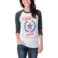 Obey Girls Classic Crest White &amp; Charcoal Baseball Tee Shirt at Zumiez : PDP