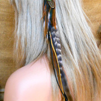 Long Feather Hair Extension with Black Deerskin by wildspirits