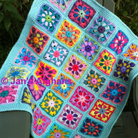 Kaleidoscope crocheted BABY afghan baby blanket 30&quot;x36&quot; kaleidoscope granny squares turquoise (light seafoam) border READY to SHIP