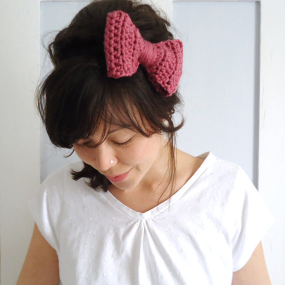 Crochet Bow Hair Band Rose Pink from ChiChiDee on Etsy