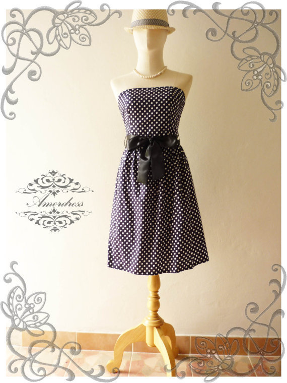 Amor Vintage Inspired  ReTrO PoLkA DoT Navy Strapless Cocktail Cotton Dress -XS and S-