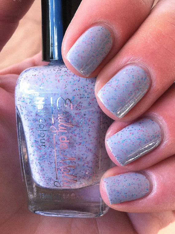 Nail polish - &quot;Somber party&quot; blue, pink and purple glitter in a grey base
