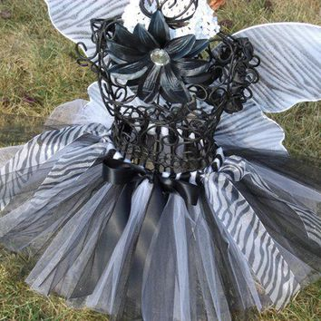 Glam Zebra Tutu-- Black and white tutu----TUTU ONLY--- 0-24months/ 2t/ 3t/ 4t/ 5t