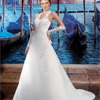 A-line halter lace neckline court train chiffon Beach Wedding Dresses WDB042