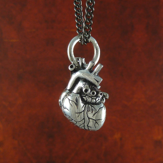 Small Anatomical Heart Necklace Antique Silver Small Anatomical Heart Pendant on 24&quot; Gunmetal Chain