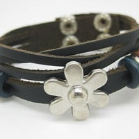 Black Leather Bracelet Bangle Jewelry Charming Flower Cuff Bracelet Adjustable B508