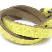 Yellow Leather Bracelet With Metal Buckle Adjustable B209