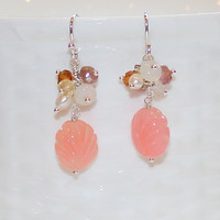Salmon Pink Carved Chalcedony Pearl Tourmaline Ethiopian Opal Silver Dangle Earrings