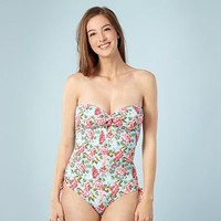 Light blue floral gingham swim suit at debenhams.com