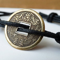 May the odds - Lucky dragon coin bracelets - For him or for her - adjustable cotton cord - antiqued bronzed tone - by Twilight Eyes Studio