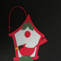 6 Christmas Gift Present Tags Cardinal and Bird House Handmade