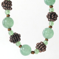 Stretch beaded bracelet - Sea green stone, glass & copper