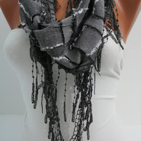 Dark Gray Shawl/ Scarf  Headband - Cowl with Trim Edge- Summer Trends by DIDUCI