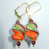 Orange, Lime Green and Brown Glass Swirl Dangle Earrings