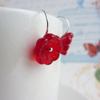 Red flower earrings, glass beads, drop earrings, sterling silver