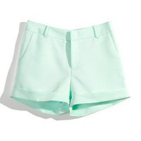 Mint Shorts with Turn Ups by Chic+ - Retro, Indie and Unique Fashion