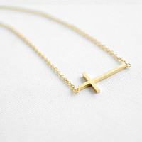 Fashion gold titanium steel crossing pendant women collarbone necklace short necklace B57