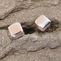 3.5mm Square Studs Mod Silver Earrings Modern Geometric Jewelry by SARANTOS