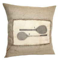 Vintage Tennis Rackets Hessian Jute Burlap Canvas Pillow Cushion Cover 16""