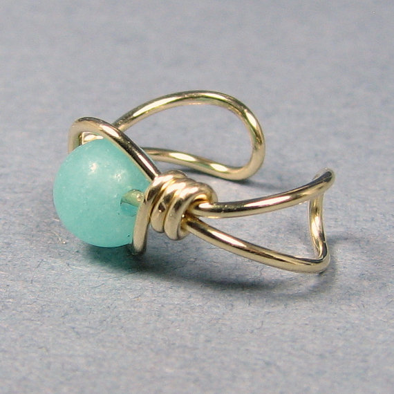 14k Gold Filled Ear Cuff  Amazonite or Choice of 56 beads