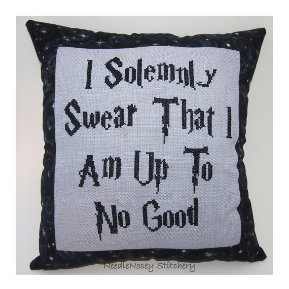 Harry Potter Cross Stitch Pillow, Black and Gray Pillow, I Solemnly Swear That I Am Up To No Good #harrypotter #pillow #crossstitch #black