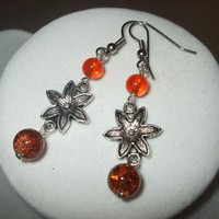 NEW Summer Blossoms - Dark Orange and Silver Flower Earrings