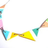 Neon Geometric Triangles Clay Pendans,Do it Yourself  Geometric Jewelry,Hand Painted Ceometric beads