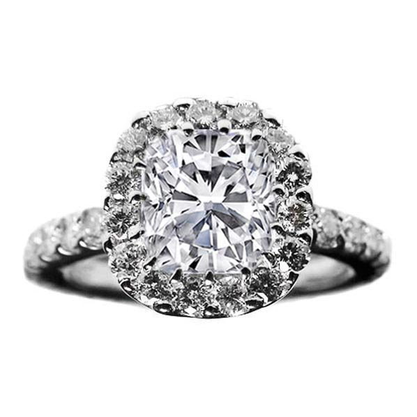 Engagement Ring - Cushion Diamond Vintage Crown Style Engagement Ring 0.50 tcw. In 14K White Gold - ES373