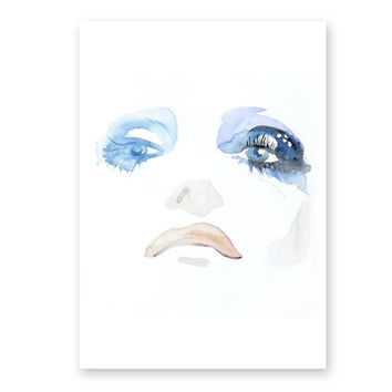 Abstract face painting, Blue Eye painting expressionist art 13 x 19 Large modern abstract art by Elena Romanova