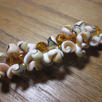 Wire Wrapped Shell and Citrine Glass Bead Barrette