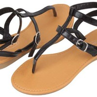 Womens Roman Gladiator Sandals Flats Thongs 2 Buckle Shoes 4 colors