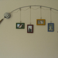 Fishing Pole Picture Frame - Metal Silver - 4 Frames