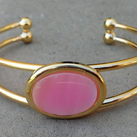 Pink shell gold cuff bracelet
