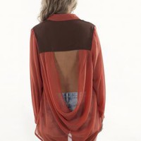 Rust High-Low Long Sleeve Blouse with Open Back