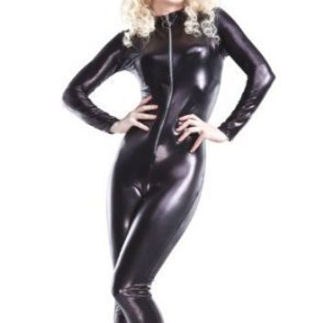 Wet Look Long-Sleeve Catsuit