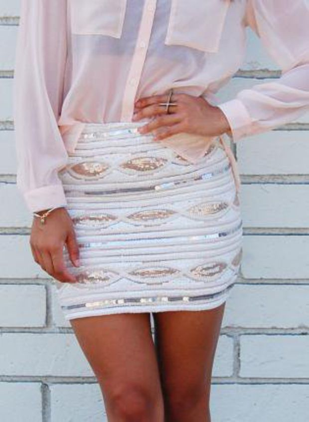 Pastel Print Sequin Body-con High Waist Skirt
