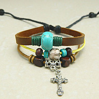 Adjustable  hipster jewelry leather bracelet with wooden bead and hollowed tube  Wristband Mens Womens