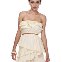 G?noise Cake Strapless Ivory Dress