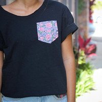 Open back tees with floral pockets