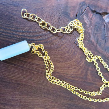 Minty Amazonite Crystal Point Necklace- Gold Adjustable Chain Natural Stone Simple Charm Pendant Mint Green Choker