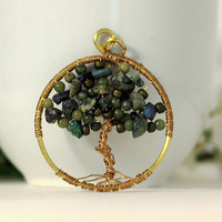 Green Tree Pendant, Large Brass Wire-wrapped Tree pendant with African Jade