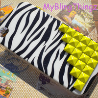 Bright Yellow Pyramid Studs on Black White Zebra Back Case Cover for Apple iPhone 4 4G 4S AT&T Verizon Sprint
