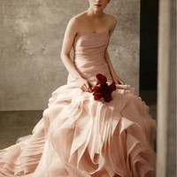 Organza Fit and Flare Gown with Bias Flange Skirt - David's Bridal