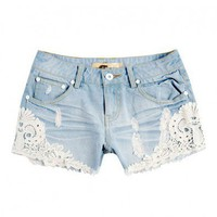 Retro Lace Denim Short
