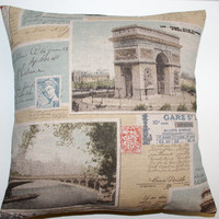 FREE DELIVERY French Postcard Eiffel Tower Arc the Triomphe Pillow Cushion Cover